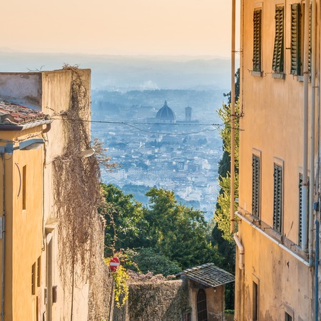 firenze: Fiesole street view with panoramic view of Firenze Stock Photo