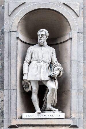 mannerism: Statue of Benvenuto Cellini in Uffizi gallery, seen in Lungarno degli Archibusieri street. Florence, Italy.