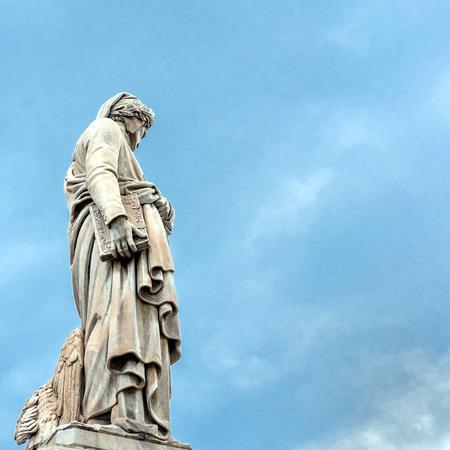 dante alighieri: Dante Alighieri statue in front of Santa Croce church - Florence, Italy