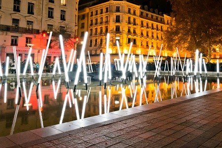 YON FRANCE  DECEMBER 6 2014: street view of Festival of Lights in Lyon France. The origins of the Fte des Lumires date to 1643. Editorial