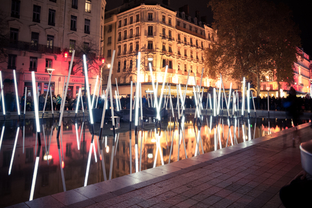 origins: YON FRANCE  DECEMBER 6 2014: street view of Festival of Lights in Lyon France. The origins of the Fte des Lumires date to 1643. Editorial