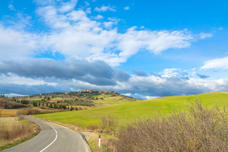 pienza: PIENZA, ITALY - January 25, 2015: street view of tuscan landscape and Pienza skyline near Pienza, Italy.  In 2004 the Val dOrcia was added to the UNESCO list of World Heritage Sites. Editorial