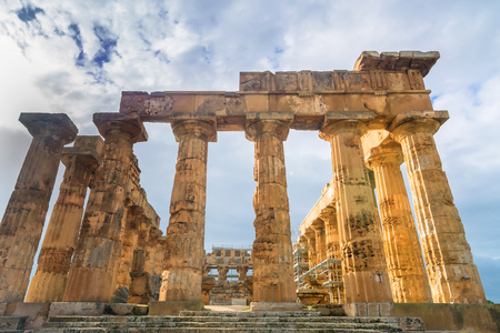 spiritual architecture: SELINUNTE, ITALY - FEBRUARY 22, 2014: day view of greek temple ruins in Selinunte, Italy. Selinunte was one of the most important of the Greek colonies in Sicily, situated on its southwest coast. Editorial