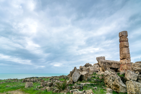 ancient architecture: SELINUNTE, ITALY - FEBRUARY 22, 2014: day view of greek temple ruins in Selinunte, Italy. Selinunte was one of the most important of the Greek colonies in Sicily, situated on its southwest coast. Editorial