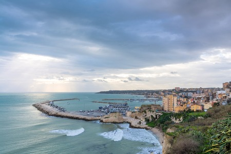 domination: SCIACCA, ITALY - FEBRUARY 22, 2014: panoramic view of coastline with downtown in Sciacca, Italy. Sciacca is known as the city of thermal baths since Greek domination in the 3rd and 4th centuries BC