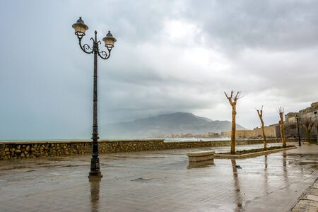 egadi: TRAPANI, ITALY - FEBRUARY 25, 2014: day view of coastline and waterfront in Trapani, Italy. The city is an important fishing port and the main gateway to the nearby Egadi Islands. Editorial