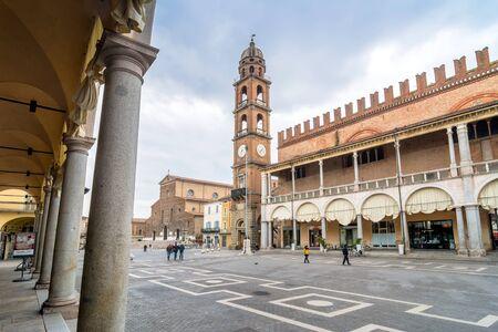 ravenna: FAENZA, ITALY - MARCH 9, 2015: day view of Piazza del Popolo in Faenza, Italy. Faenza is the capital of ceramics in Emilia-Romagna region.