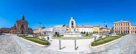 reggio emilia: NOVELLARA, ITALY - April 1, 2015: day view of main square in Novellara, Italy. Novellara is a town in the middle of Emilia Romagna Region and was the seat of the Gonzaga family from the 13th century.
