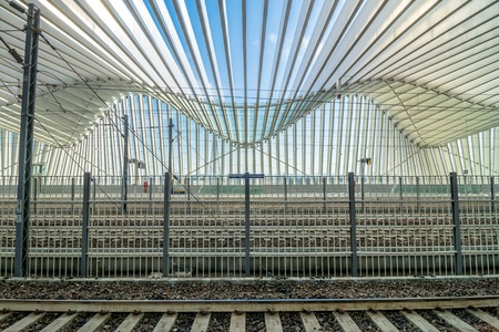 reggio emilia: REGGIO EMILIA, ITALY - MARCH 12, 2015: detail of Mediopadana High Speed Train Station in Reggio Emilia, Italy. It is designed by architect Santiago Calatrava and composed of 457 steel frames.