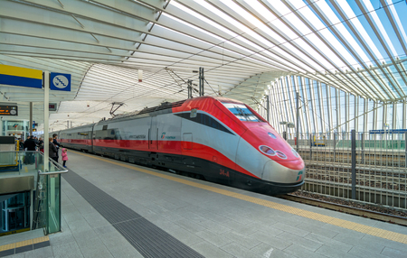reggio emilia: REGGIO EMILIA, ITALY - MARCH 12, 2015: train and passengers in High Speed Train Station in Reggio Emilia, Italy. It is designed by architect Santiago Calatrava and composed of 457 steel frames.