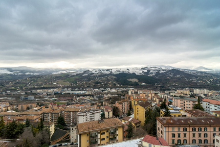 in europe: POTENZA, ITALY - MARCH 13, 2015: panoramic day view of city and mountains in Potenza, Italy. Potenza is the highest regional capital city in Italy. Editorial