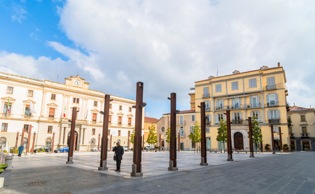 mario: POTENZA, ITALY - MARCH 13, 2015: day view of Mario Pagano square with local people in Potenza, Italy. Potenza is the highest regional capital city in Italy. Editorial