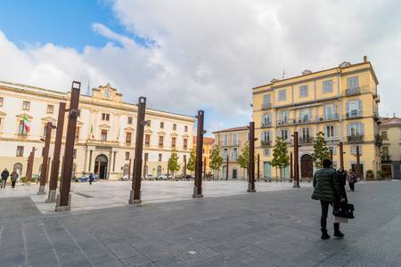 potenza: POTENZA, ITALY - MARCH 13, 2015: day view of Mario Pagano square with local people in Potenza, Italy. Potenza is the highest regional capital city in Italy. Editorial