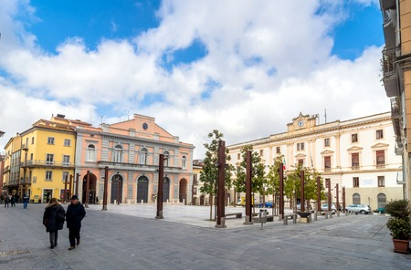 lucania: POTENZA, ITALY - MARCH 13, 2015: day view of Mario Pagano square with local people in Potenza, Italy. Potenza is the highest regional capital city in Italy. Editorial