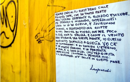 public figure: POTENZA, ITALY - MARCH 13, 2015: detail of public wall with Giacomo Leopardi quotation in Potenza, Italy. Giacomo Leopardi, a significant figure of the Italian Romanticism era, was declared the greatest Italian poet of the 19th century Editorial