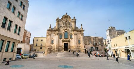 unesco culture heritage: MATERA, ITALY - MAY 15, 2015: day view of Baroque facade of St Francesco di Assisi Church in Matera, Italy.. The city is a UNESCO World Heritage site and European Capital of Culture for 2019. Editorial