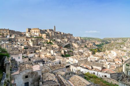 MATERA, ITALY - MAY 15, 2015: day view of Sassi di Matera ancient town in Matera, Italy. The city is a UNESCO World Heritage site and European Capital of Culture for 2019.