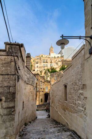 unesco culture heritage: MATERA, ITALY - MAY 15, 2015: street view of Sassi di Matera ancient town in Matera, Italy. The city is a UNESCO World Heritage site and European Capital of Culture for 2019.