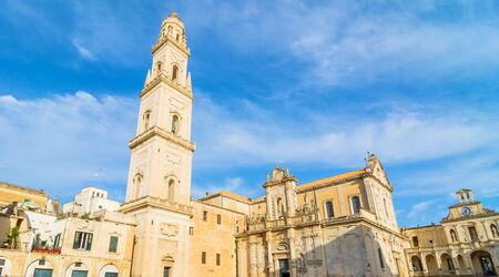 exterior architecture: LECCE, ITALY - MAY 16, 2015: day view of Piazza del Duomo square with Cathedral in Lecce, Italy. Lecce is the main city of the Salentine Peninsula, a sub-peninsula at the heel of Italy. Editorial