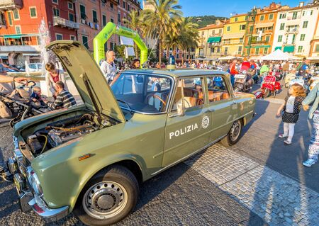 specifically: LERICI, ITALY - MAY 30, 2015: Italian Police 1971 Alfa Giulia famous car on display in Lerici, Italy. In the 1960s Alfa Romeo became famous for its cars specifically designed for the Italian police and Carabinieri.