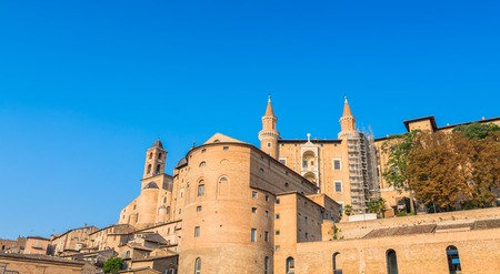 renaissance art: Urbino, Italy - August 13, 2015: view of skyline with Ducal Palace in Urbino, Italy. The historic center of Urbino was declared and represents the zenith of Renaissance art and architecture.