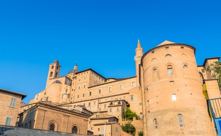 renaissance art: Urbino, Italy - August 13, 2015: view of skyline with Ducal Palace in Urbino, Italy. The historic center of Urbino was  represents the zenith of Renaissance art and architecture.