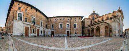 urbino: Urbino, Italy - August 13, 2015: Piazza Duca Federico and Cathedral in Urbino, Italy. The historic center of Urbino  represents the zenith of Renaissance architecture. Editorial