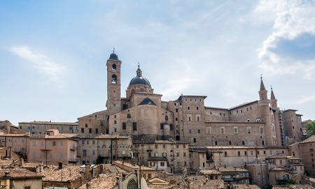urbino: Urbino, Italy - August 13, 2015: view of skyline with Ducal Palace in Urbino, Italy.