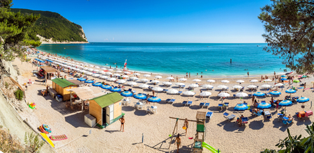 or san michele: Sirolo, Italy - August 18, 2016: day view of famous San Michele beach in Sirolo, Italy. Mount Conero Natural Reserve Regional Park is a unique ecological environment. Editorial