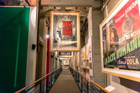 Turin, Italy - January 01, 2016: interior view with posters of famous movies in National Museum of Cinema in Turin, Italy. The Museum is one of the most important of its kind in the world.
