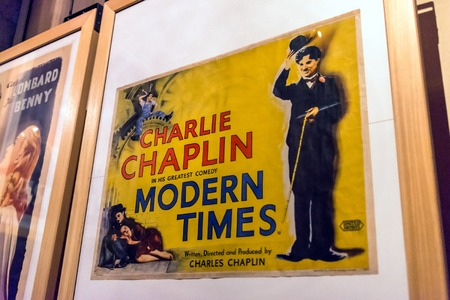 Turin, Italy - January 01, 2016: interior view with Modern Times poster in National Museum of Cinema in Turin, Italy. The Museum is one of the most important of its kind in the world.