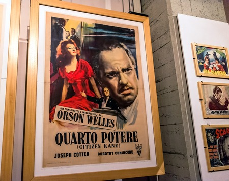 Turin, Italy - January 01, 2016: interior view with Citizen Kane poster in National Museum of Cinema in Turin, Italy. The Museum is one of the most important of its kind in the world. Editorial