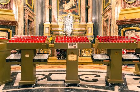 Turin, Italy - January 2, 2016: Interior of Santuario della Consolata in Turin, Italy. It is a prominent Marian sanctuary and minor basilica in central Turin, Piedmont, Italy.