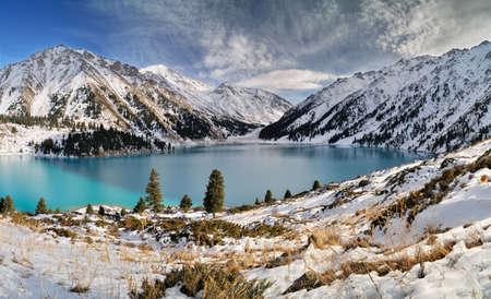 Big Almaty Lake in ZaIli Alatau mountain chain near Almaty, Kazakhstan