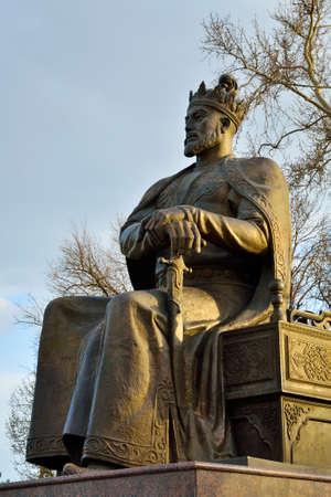 samarkand: Tamerlane statue in the city of Samarkand, Republic of Uzbekistan