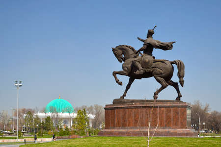 road warrior: Tamerlane Statue in Tashkent, the capital of Republic of Uzbekistan Editorial