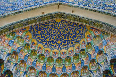 uzbekistan: Abdul Aziz Madrassah Fresco in Bukhara, Uzbekistan Stock Photo