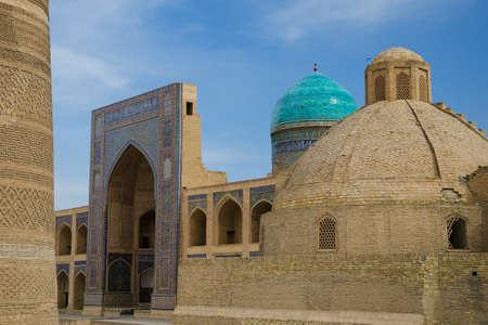 showplace: Miri Arab Khan & Poi Kalon Mosque Complex in Bukhara, Republic of Kazakhstan Stock Photo