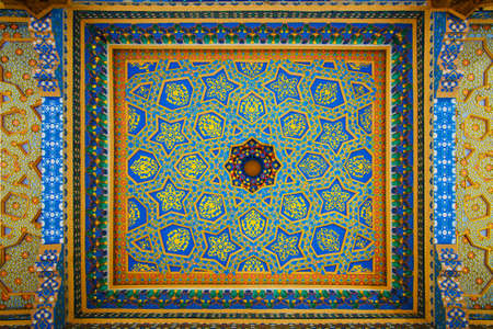 Variegated Fresco on Ceiling in Baha-ud-Din Naqshband Bukhari Ensemble. Bukhara, Uzbekistan