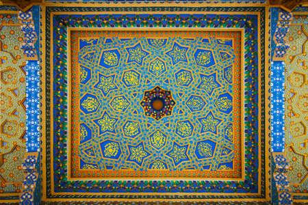 baha: Variegated Fresco on Ceiling in Baha-ud-Din Naqshband Bukhari Ensemble. Bukhara, Uzbekistan