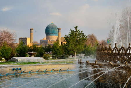 mausoleum: Gur-e Amir Mausoleum in Samarqang, the Place where Conqueror Tamerlang was buried
