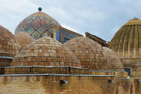 uzbekistan: Shah-i-Zinda Ensemble - necropolis in Samarkand, Uzbekistan. Stock Photo