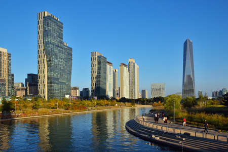 Songdo Central Park in the International Business District. Incheon, South Korea