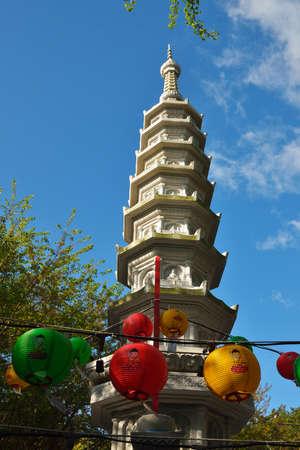 republic of korea: Buddhist pagoda at Haedong Yonggungsa temple in Busan, Republic of Korea Stock Photo