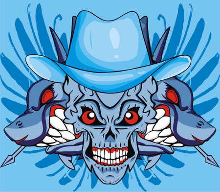evil face: blue shark skull Illustration