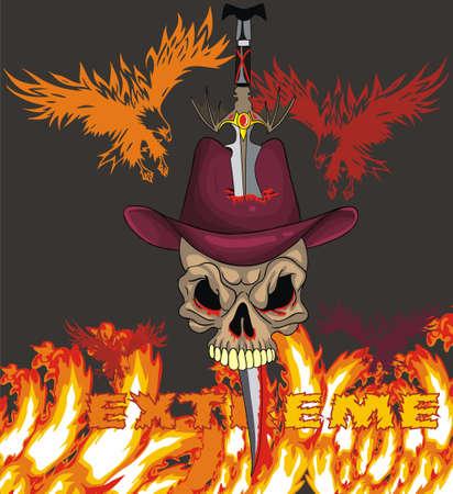 illustrated: fire skull