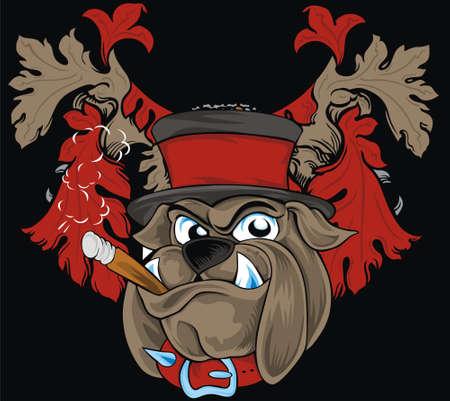vintage bulldog head Ilustração