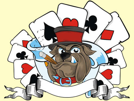 cartas de poker: tarjeta de juego y bulldog Vectores