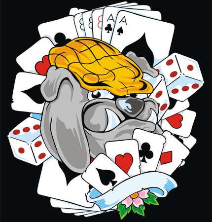tarjeta de juego y bulldog