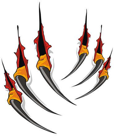 Claws arañazos vector Ilustración de vector